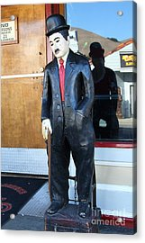 Historic Niles District In California Near Fremont . Charlie Chaplin Statue At The Florence Bar Acrylic Print by Wingsdomain Art and Photography