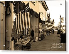 Historic Niles District In California Near Fremont . Main Street . Niles Boulevard . 7d10692 . Sepia Acrylic Print by Wingsdomain Art and Photography