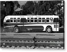 Historic Niles District In California Near Fremont . Niles Coach Line Bus . 7d10803 . Bw Acrylic Print by Wingsdomain Art and Photography