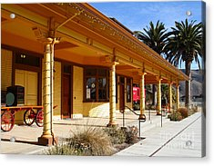 Historic Niles District In California Near Fremont . Niles Depot Museum And Niles Town Plaza.7d10636 Acrylic Print by Wingsdomain Art and Photography