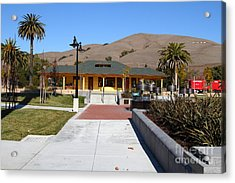 Historic Niles District In California Near Fremont . Niles Depot Museum And Niles Town Plaza.7d10697 Acrylic Print by Wingsdomain Art and Photography
