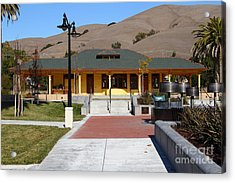 Historic Niles District In California Near Fremont . Niles Depot Museum And Niles Town Plaza.7d10698 Acrylic Print by Wingsdomain Art and Photography