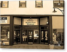 Historic Niles District In California Near Fremont . Niles Essanay Silent Film Museum.7d10683.sepia Acrylic Print by Wingsdomain Art and Photography