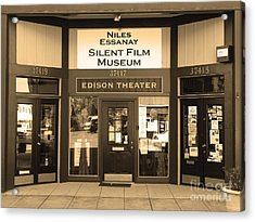 Historic Niles District In California Near Fremont . Niles Essanay Silent Film Museum.7d10684.sepia Acrylic Print by Wingsdomain Art and Photography