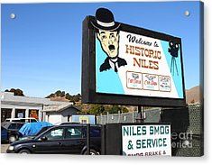 Historic Niles District In California Near Fremont . Welcome To Niles Sign . 7d10603 Acrylic Print by Wingsdomain Art and Photography