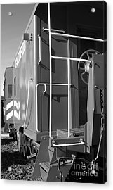 Historic Niles District In California Near Fremont . Western Pacific Caboose Train . 7d10622 . Bw Acrylic Print by Wingsdomain Art and Photography