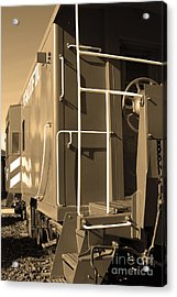Historic Niles District In California Near Fremont . Western Pacific Caboose Train . 7d10622 . Sepia Acrylic Print by Wingsdomain Art and Photography