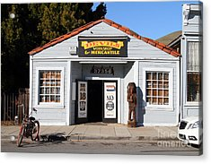 Historic Niles District In California.motorized Bike Outside Devils Workshop And Mercantile.7d12727 Acrylic Print by Wingsdomain Art and Photography