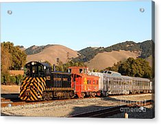 Historic Niles Trains In California . Old Southern Pacific Locomotive And Sante Fe Caboose . 7d10822 Acrylic Print by Wingsdomain Art and Photography