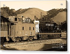 Historic Niles Trains In California.southern Pacific Locomotive And Sante Fe Caboose.7d10843.sepia Acrylic Print by Wingsdomain Art and Photography