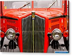 Historic Red Jammer Bus Glacier National Park Acrylic Print by Karon Melillo DeVega