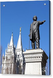 Historic Salt Lake Mormon Lds Temple And Brigham Young Acrylic Print by Gary Whitton