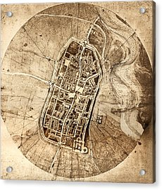 Historical City Map Of Imola, Italy Acrylic Print by Sheila Terry