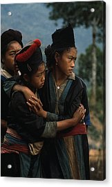 Hmong Girls Cling To Each Other Acrylic Print by W.E. Garrett