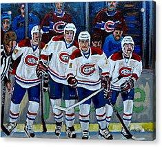 Hockey Art At Bell Center Montreal Acrylic Print by Carole Spandau