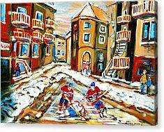 Hockey Art Hockey Game Plateau Montreal Street Scene Acrylic Print by Carole Spandau