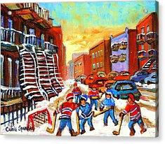 Hockey Art Kids Playing Street Hockey Montreal City Scene Acrylic Print by Carole Spandau