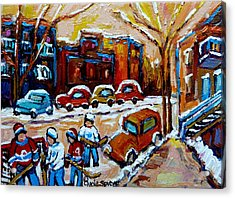 Hockey Art Montreal Staircases In Winter Acrylic Print by Carole Spandau