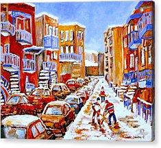 Hockey Art Streets Of Montreal Hockey Paintings Acrylic Print by Carole Spandau