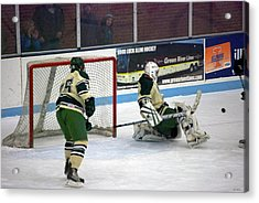 Hockey Off The Pads Acrylic Print by Thomas Woolworth