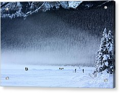 Hockey On Lake Louise Acrylic Print by Alyce Taylor
