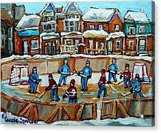 Hockey Rink Montreal Street Scene Acrylic Print