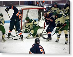 Hockey Two On Four Acrylic Print by Thomas Woolworth