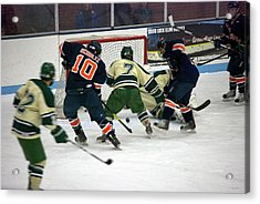 Hockey Two On Two Acrylic Print by Thomas Woolworth