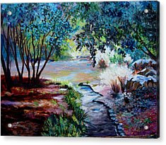 Acrylic Print featuring the painting Hodges Garden Stream by AnnE Dentler
