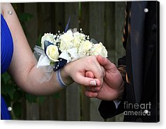 Holding Hand With Wrist Corsage Acrylic Print