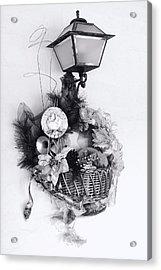 Holiday Basket On Lamp Bw Acrylic Print by Linda Phelps