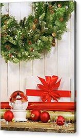 Holiday Wreath With Snow Globe  Acrylic Print by Sandra Cunningham