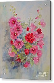 Acrylic Print featuring the painting Hollyhocks And Red Roses by Beatrice Cloake