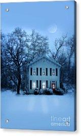 Home On A Wintery Evening Acrylic Print by Jill Battaglia