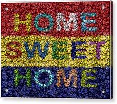 Home Sweet Home Bottle Cap Mosaic  Acrylic Print by Paul Van Scott