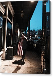 Homeless Man Carrying American Flag In New Orleans Acrylic Print