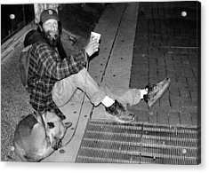 Homeless With Faithful Companion Acrylic Print by Kristin Elmquist