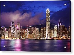 Hong Kong At Night Acrylic Print by Dan Breckwoldt