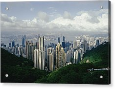 Hong Kong Island And The Bay Acrylic Print by Jason Edwards