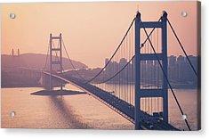Hong Kong Tsing Ma Bridge At Sunset Acrylic Print by Yiu Yu Hoi
