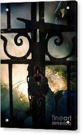 Hooded Figure By A Fire Acrylic Print by Jill Battaglia