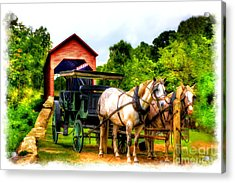 Horse And Buggy In Front Of Covered Bridge Acrylic Print by Dan Friend