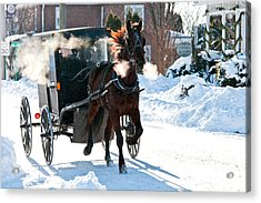 Horse And Buggy In The Snow Acrylic Print