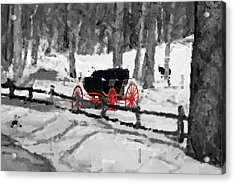 Horse And Buggy - No Work Today - Abstract Acrylic Print by Janice Adomeit
