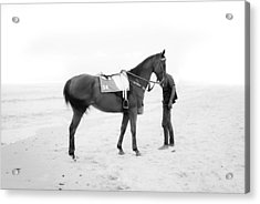 Horse And Man On The Beach Black And White Acrylic Print by Kittipan Boonsopit