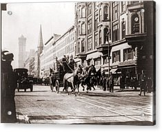 Horse-drawn Fire Engines In Street Acrylic Print by Everett