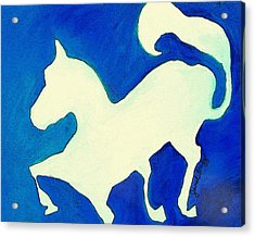 Horse In Blue And White Acrylic Print by Janel Bragg