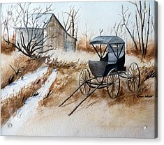 Horsepowered Winter Surrey Painting Acrylic Print by Cindy Wright
