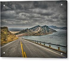 Horsetooth Reservoir Stormy Skies Hdr Acrylic Print by Aaron Burrows