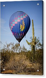 Hot Air Balloon Flight Over The Lush Arizona Desert Acrylic Print by James BO  Insogna